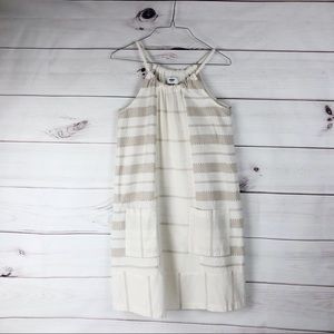 Old Navy Cream & Tan 100% Cotton Dress